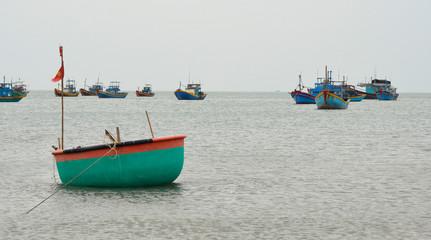 A traditional fishing boat in Mui Ne Fishing Village, Binh Thuan Province, Vietnam