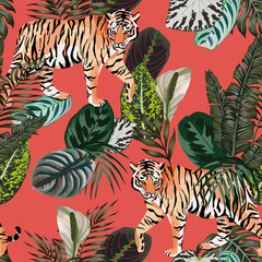 Door stickers Botanical Tiger in the jungle living coral background