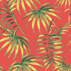 Seamless composition green leaves living coral background
