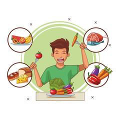 balanced diet young man