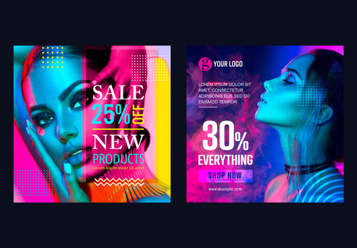 Social Media Sale Banners Layout Set