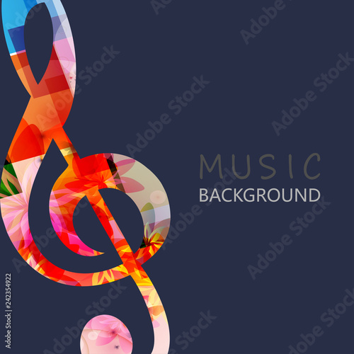 Music Background With Colorful G Clef Vector Illustration Design
