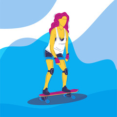 girl with pink hair rolls on a skateboard