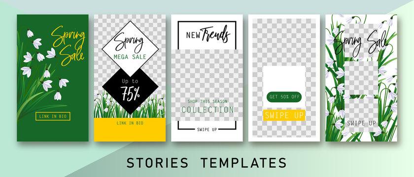 Instagram stories templates. Spring insta sale. Clean & Modern. Instagram spring sale
