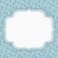 Teal and white cat pattern border with copy space