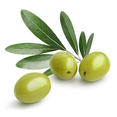 Ripe green olives with leaves, isolated on white background