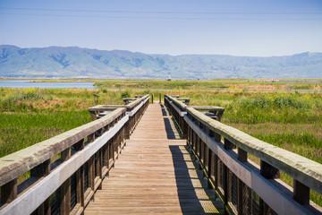Wooden bridge on the bay trail, Mountain View, Silicon Valley, south San Francisco bay, California