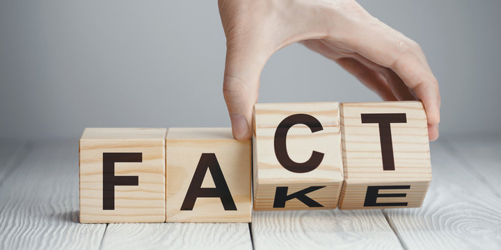 """Hand flipping two wooden cubes to change the word """"Fact"""" for """"Fake"""" or vice versa on neutral background"""