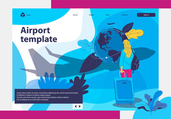 Template, planet earth, the flight pattern on the map, the airport, the girl with the Luggage