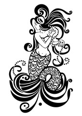 Mermaid black and white drawing, tattoo design, mythical girl with long hair, abstract print, coloring, vector illustration, element decorating body, graphic art, isolated on white background