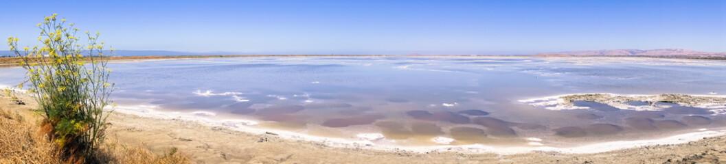 Panorama of the salt ponds at Alviso Marina County Park, San Jose, south San Francisco bay, California