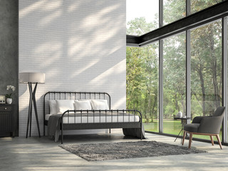 Wall Mural - High ceiling loft bedroom 3d render.There are white brick wall,polished concrete floor and black steel structure,There are large windows look out to see the nature,sunlight shining into the room.