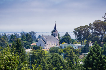 Aerial view of the Holy Cross Catholic Church in Santa Cruz from the trails of Pogonip Open Space Preserve, California