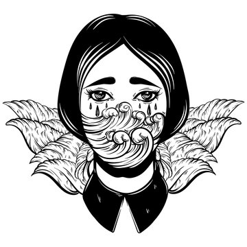 Vector illustration of weird young girl with sad eyes and sea waves instead face made in hand drawn style. Graphic Noir artwork. Character design. Template for card poster banner print for t-shirt.