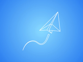 A white paper plane flying up smoothly for transport and aviation business on blue background vector illustration