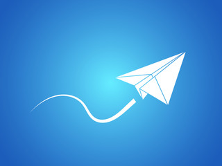 A white origami aircraft made with paper flying smoothly vector illustration on blue background for business and industry sector