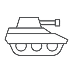 Military tank thin line icon, war and army, vehicle sign, vector graphics, a linear pattern on a white background.