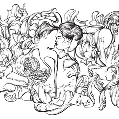 Vector surreal illustration with kissing lovers, hands, garnet and floral forms. Artwork in realistic line hand drawn style. Template for card, poster, banner and print for t-shirt