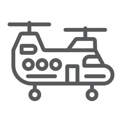 Military helicopter line icon, military and vehicle, chopper sign, vector graphics, a linear pattern on a white background.