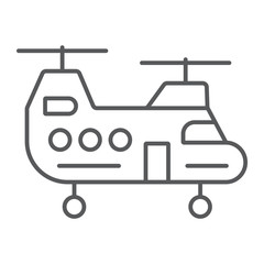 Military helicopter thin line icon, military and vehicle, chopper sign, vector graphics, a linear pattern on a white background.