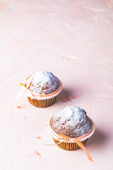 Homemade muffin on light pink living coral stone concrete surfac