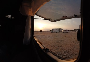 Camper Window sunrise