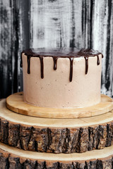 Chocolate cake with mirror glaze. Picture for recipe or confectionery catalog.