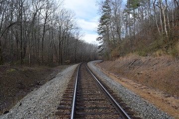 Norfolk Southern Railway (formerly Memphis and Charleston Railroad) in Big Hill Pond State Park Tennessee