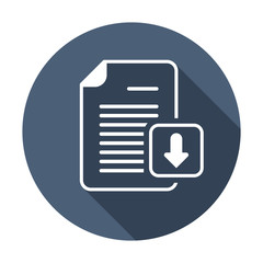 Arrow document download file page icon. Vector icon