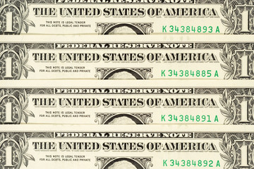 Four one dollar banknotes background. High resolution photo close-up macro.