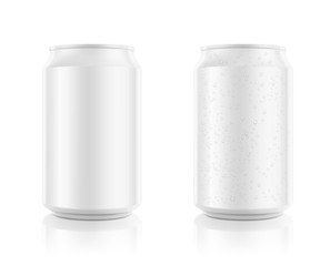 Realistic aluminum cans mockups. Front view. Vector illustration. Can be used for beer, water, soda, energetic, etc. Easy to use for presentation your product, idea, design. EPS10.