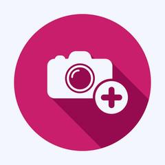 New photo icon. Camera icon with add sign. Camera icon and new, plus, positive concept. Vector icon