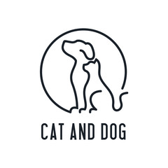 Home pets, minimalist monoline lineart outline dog cat icon logo template vector illustration, Modern kitten and puppy label for Veterinary clinic Logotype concept. petfood