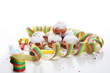 German donuts with jam and icing sugar. Carnival powdered sugar raised donuts