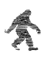 schraffur kratzer risse gehender laufender seitlich bigfoot silhouette comic yeti monster cartoon affe groß fabeltier schnee weiß menschenaffe lustig riese berge winter clipart design