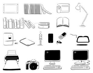 Computer and desk icon set