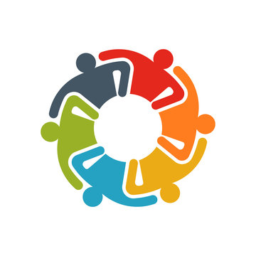 Group of Business People. Business People doing Teamwork and Sharing Knowledge. Logo illustration