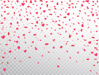 Heart confetti falling on transparent background. Flower petal in shape of heart. Valentines Day background. Color confetti for greeting cards, wedding invitation, gift packages. Vector illustration