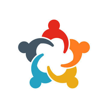 Group of Business People. Business People in a Meeting and Sharing Ideas. Logo illustration