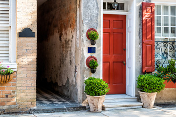 Printed roller blinds Narrow alley Charleston, USA downtown city street in South Carolina with nobody in southern town by old vintage houses architecture, narrow alley and door entrance