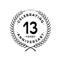13 years design template. 13th vector and illustration