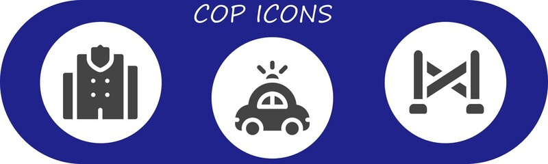 Vector icons pack of 3 filled cop icons