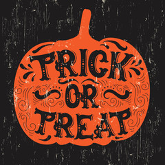 Door stickers Halloween Vector halloween quote typographical background made in hand drawn style. Trick or treat. Template for card banner poster print for t-shirt