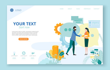 Landing page for site or web page template for business projects with people, icons, diagrams and space for text on white background.