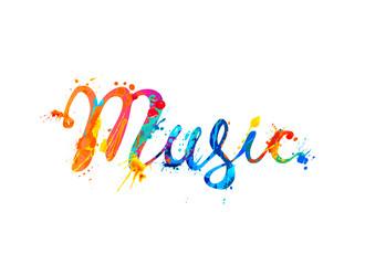 Music. Hand written inscription. Rainbow splash paint.