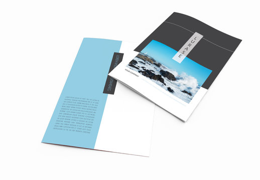 Brochure Layout with Blue Accents