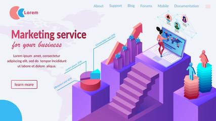 Business Marketing Service Website Vector Template