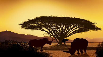 Silhouettes of african with rhino animals