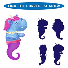 Unicorn seahorse  Find the correct shadow kids educational puzzle game. The Theme Of Mermaids vector illustration