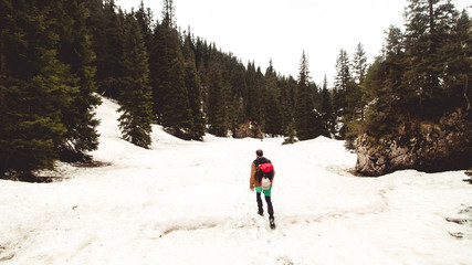 Mountaineer hiking the Slovenian Alps